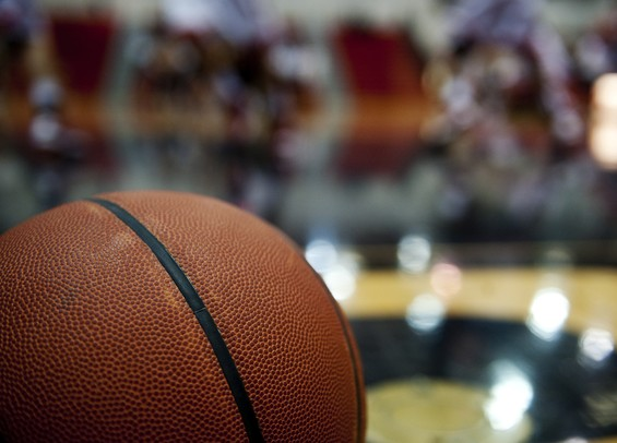 A basketball on the court at Milan High School before the game against Chelsea on Friday. Daniel Brenner I AnnArbor.com